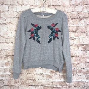 Rebecca Minkoff Gray Embroidered Sweatshirt Sz S